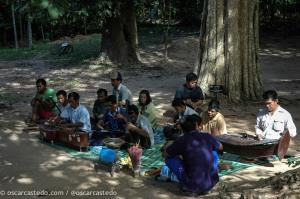 Músicos a la entrada de Angkor