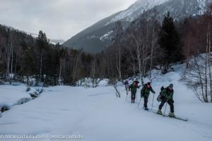 Camino de la cata de nieve