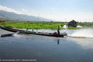 Barcos de transporte en Inle