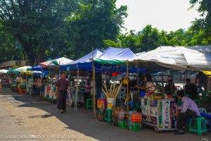 Puestos comida en Yangon